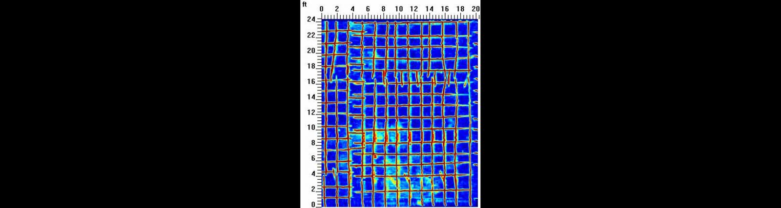 Concrete Scanning Results of the 20 x 25 ft Room to Avoid Rebar