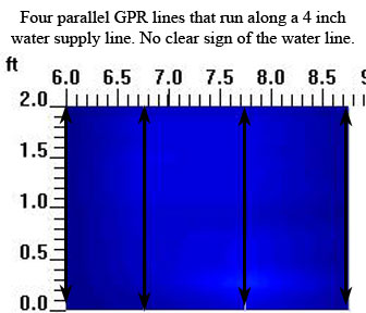GPR Concrete Scan Parallel to 4 inch Water Main