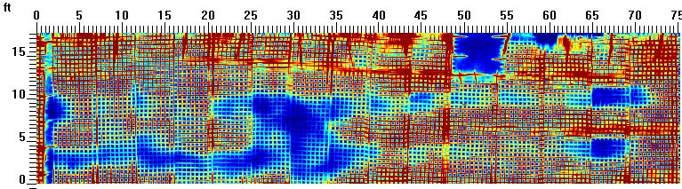 Shallow GPR Concrete Scan Results of a 75 x 20 ft area